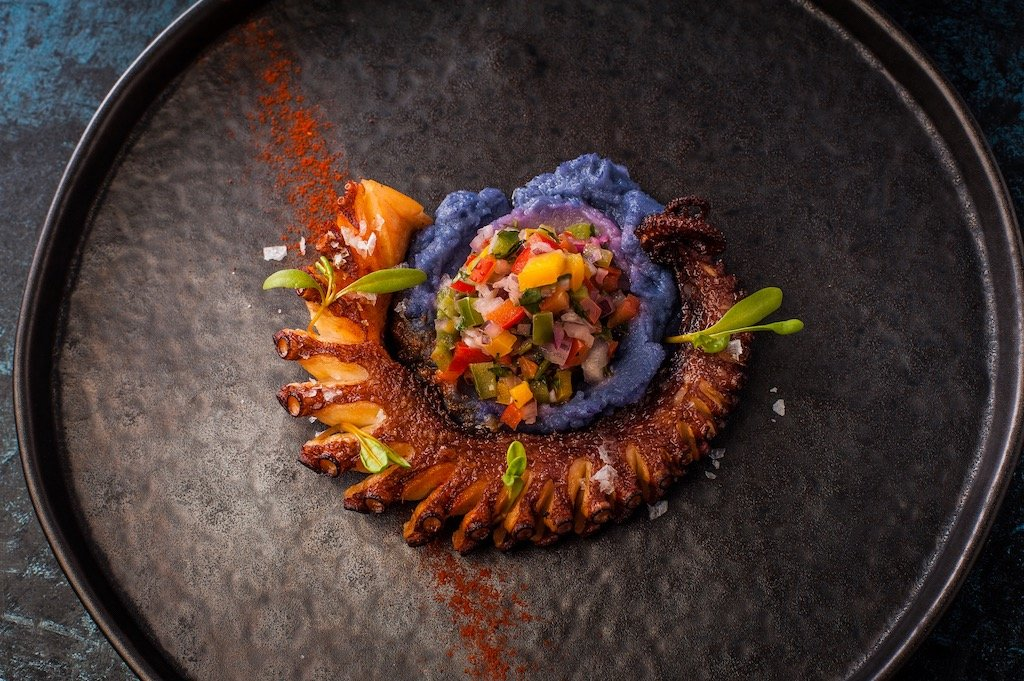 Grilled octopus with purple potato parmentier